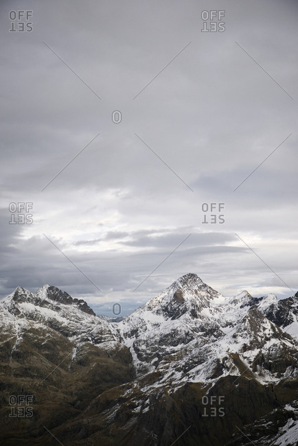 Snowy peaks in tena valley, huesca province, aragon in spain.