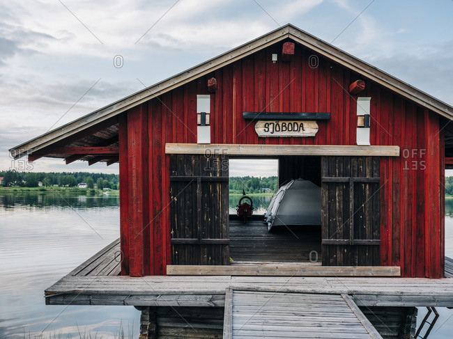 Boat house on a lake in Northern Sweden