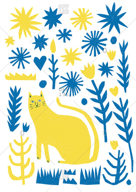 Illustration of a cat in a garden