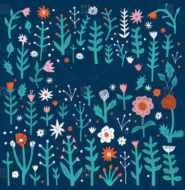 Colorful floral pattern illustration on blue background