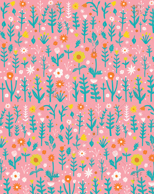 Floral pattern illustration on pink background