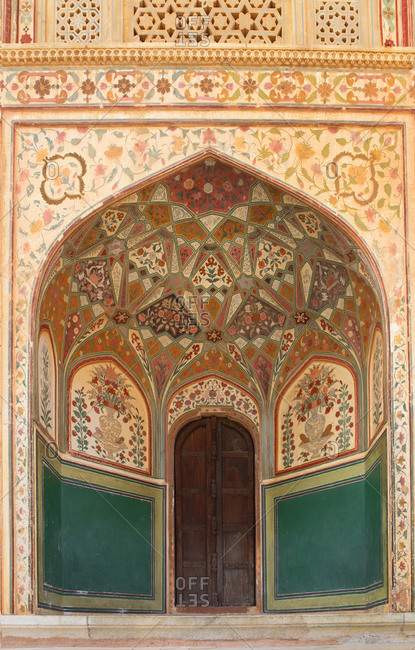 Entrance door to Amber Fort Palace complex in Jaipur, India