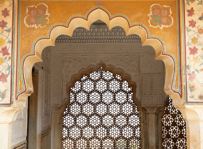 Amber fort palace complex building detail in Jaipur, India