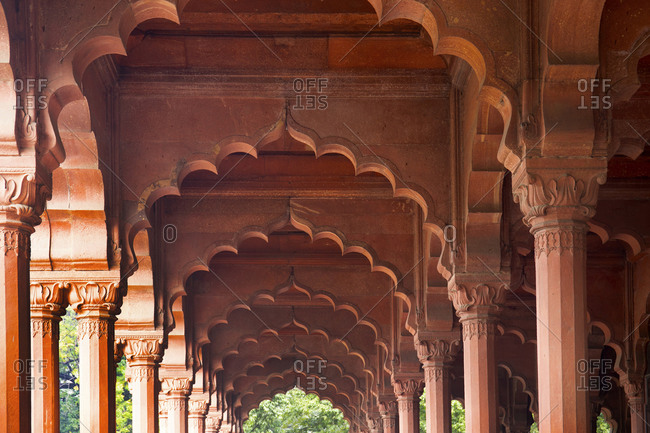 Arches on a pavilion at the Red Fort, New Delhi, India