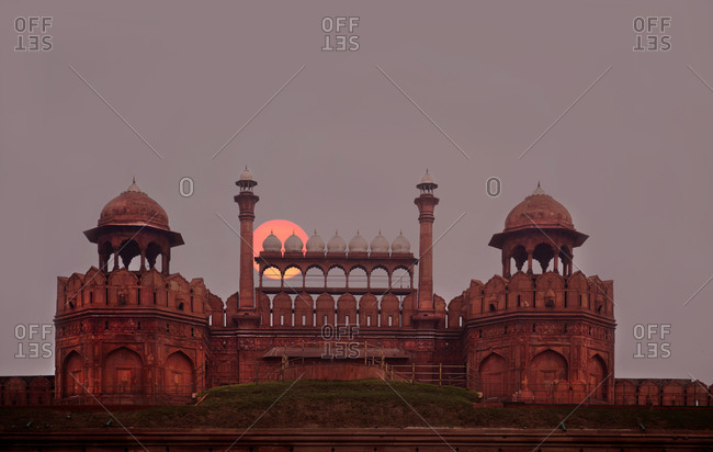The Red Fort entrance at sunrise, New Delhi, India