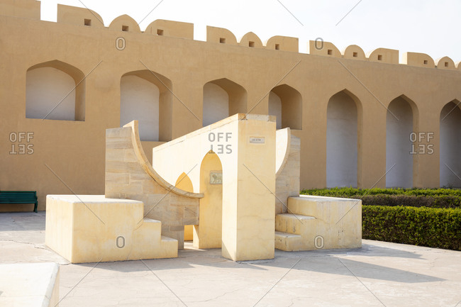 Architectural elements at the Jantar Mantar Astrological Park in Jaipur, India