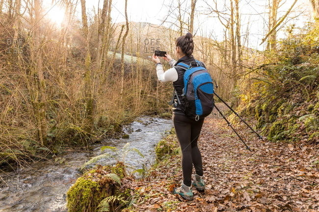 Back view of faceless female traveler with backpack taking picture on mobile phone in beautiful autumn forest