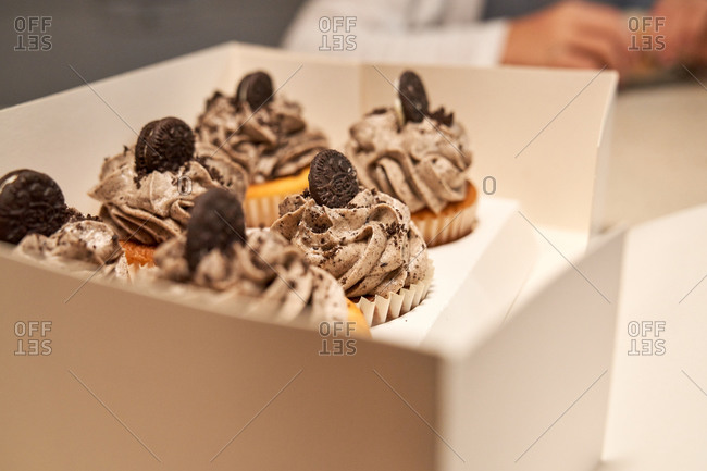 Stock photo of a white box with six cupcakes of chocolate cream inside
