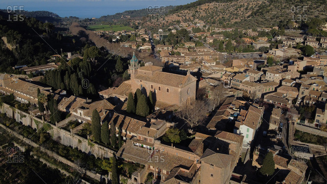 Top drone view of drone image of Valdemossa rural medieval village in Majorca, Spain