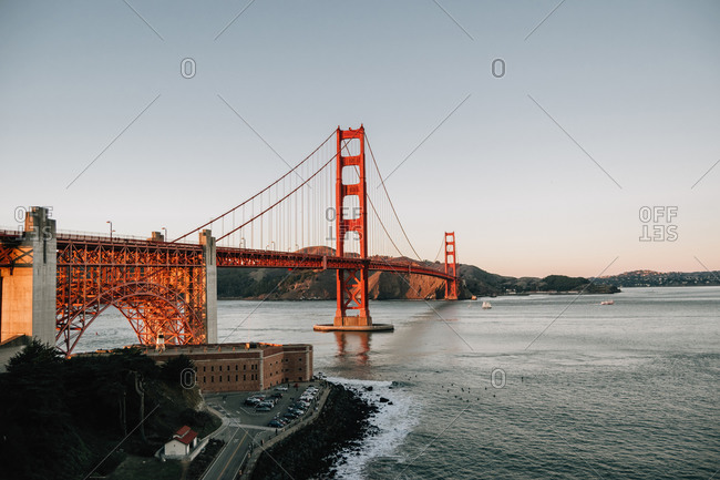 Golden Gate Bridge against clear blue sky in California landscape historical heritage in USA at sunrise