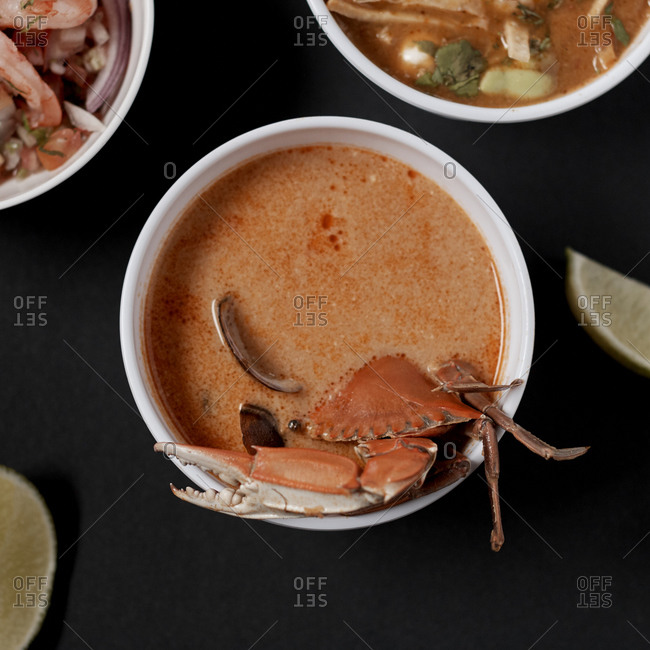 Spicy seafood soup with delicious crab