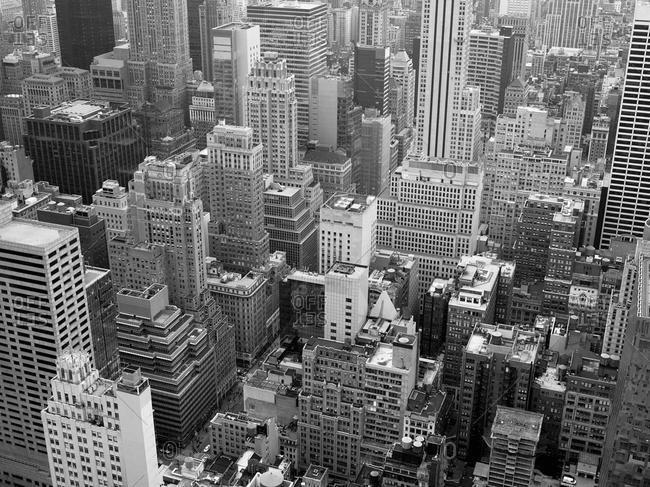 Aerial cityscape, Midtown, Manhattan, New York, New York City, USA