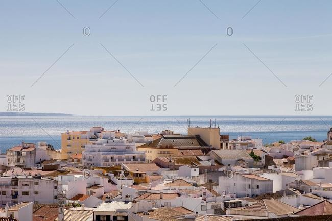 Aerial view of the old town and ocean, Lagos, Barlavento, Algarve, Portugal