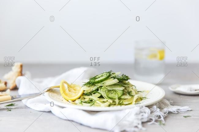 Fennel, cucumber, dill and lemon salad