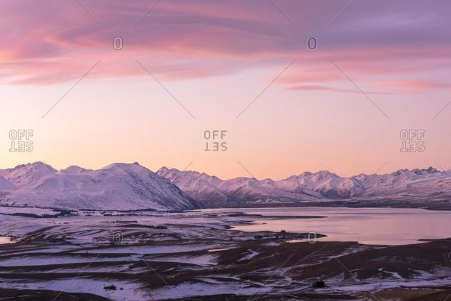 View of Lake Tekapo from Mount John at sunset, Mackenzie District, Canterbury, South Island, New Zealand