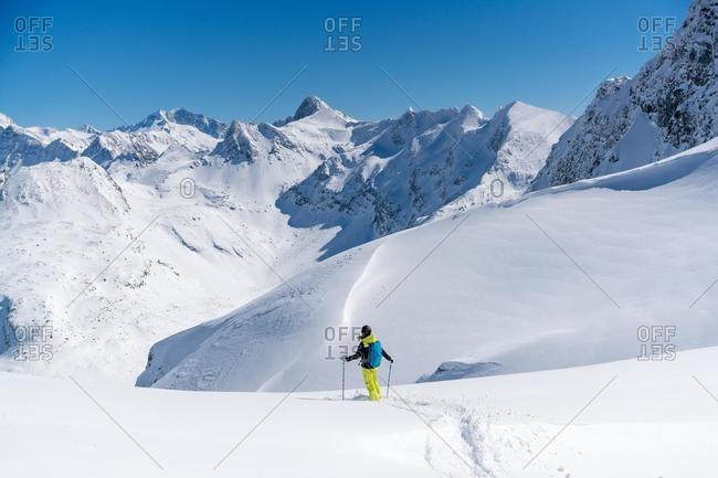 Female skier skiing, Sportgastein, Bad Gastein, Salzburg, Austria