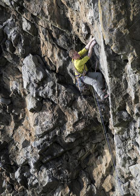 Rock climber- Mother Carey's Kitchen- Pembrokeshire- United Kingdom