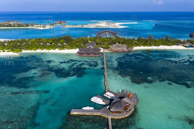 Maldives- Aerial view of Olhuveli island tourist resort