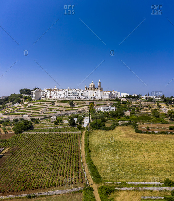 Italy- Locorotondo- Aerial view of clear blue sky over vineyards in front of town