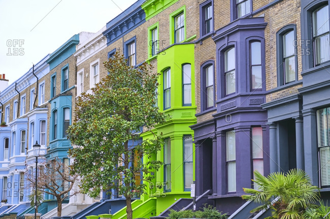 UK- England- London- Row of colorful houses in Notting Hill