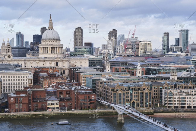 December 8, 2019: UK- England- London- High angle view of Millennium Bridge with Saint Pauls Cathedral in background