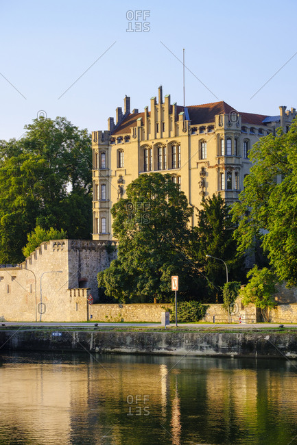 Germany- Bavaria- Regensburg- Danube river and royal villa