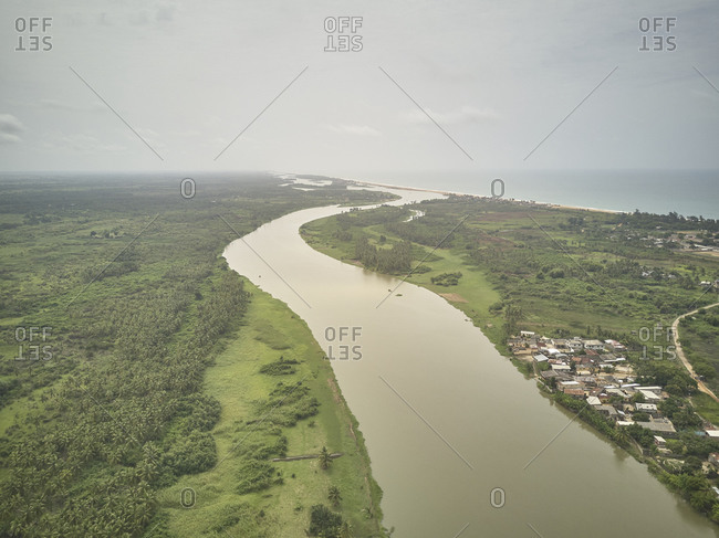 Benin- Grand Popo- Aerial view of mouth of Mono River