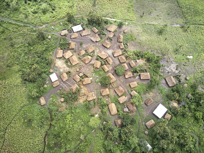 Benin- Aerial view of small traditional village of Holi tribe