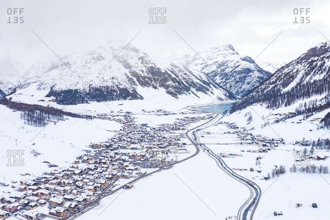 Italy- Province of Sondrio- Livigno- Aerial view of snow-covered town in Italian Alps