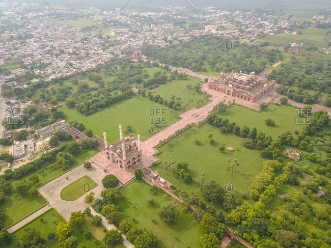 Aerial view of Tomb of Akbar The Great Area with a garden with many trees, Sikandra, Agra, Uttar Pradesh, India