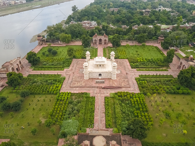 Aerial view of Itimad-ud-Daula with the Yamuna river, Moti Bagh, Agra, Uttar Pradesh, India