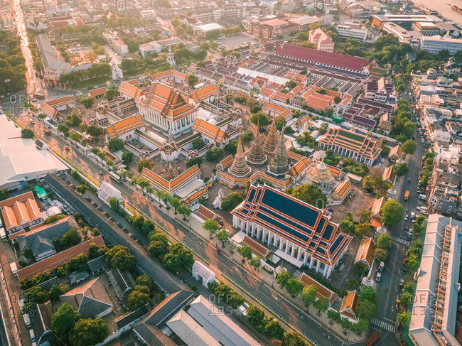Aerial view of Reclining Buddha in sunny day, Phra Nakhon, Bangkok, Thailand