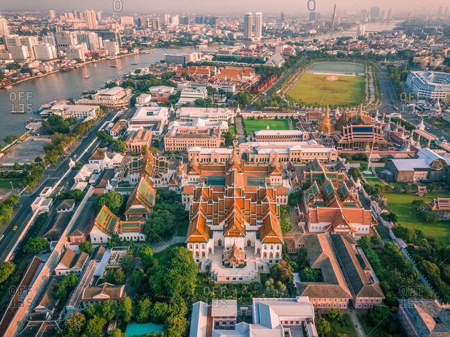Aerial view of The Grand Palace with the Chao Phraya river in the background, Phra Nakhon, Bangkok, Thailand