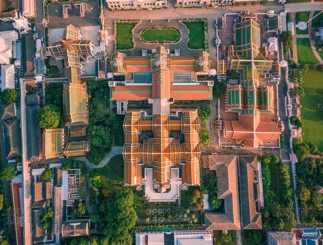 Aerial view of The Grand Palace in sunny day, Phra Nakhon, Bangkok, Thailand