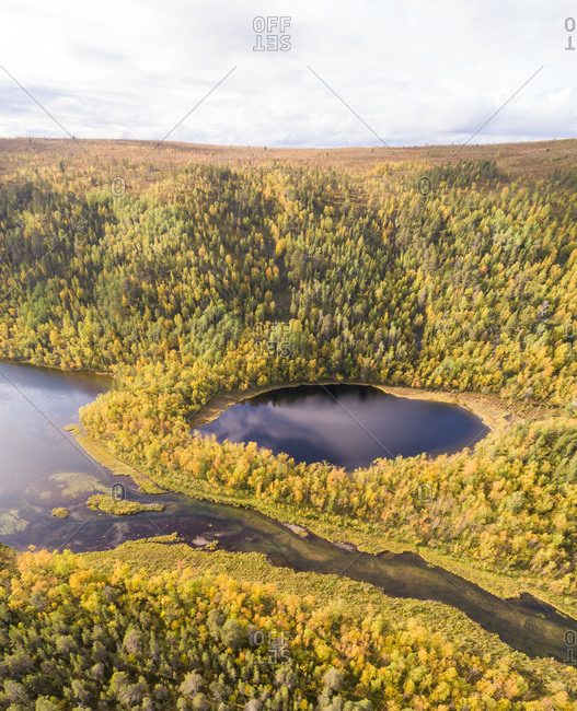 Aerial view of a lagoon in Utsjoki, Finland