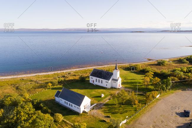 Aerial view of Kistrand Church, Porsanger, Troms og Finnmark, Norway