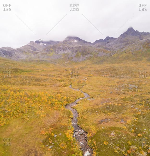 Aerial view of a mountain stream Nordfjordbotn, Norway