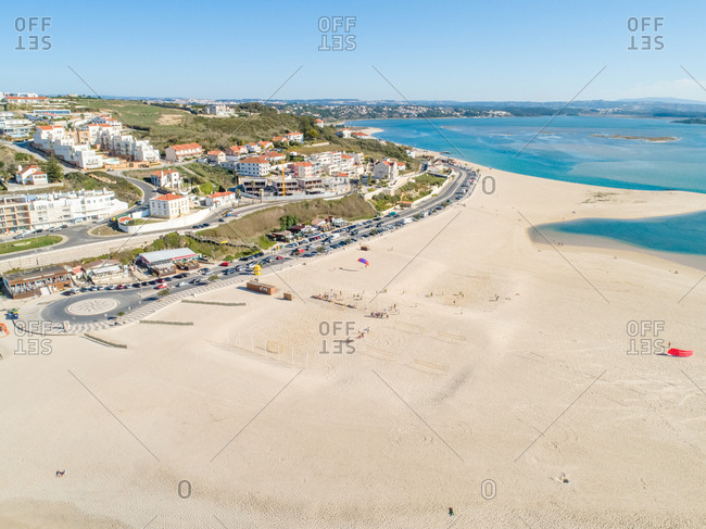 October 25, 2019: Aerial view of Praia da Foz do Arelho with white sand on the beach, Portugal
