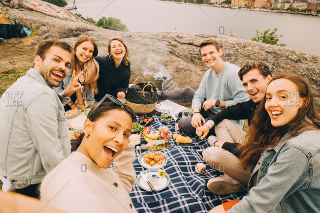 Portrait of cheerful friends enjoying picnic on field by lake during summer