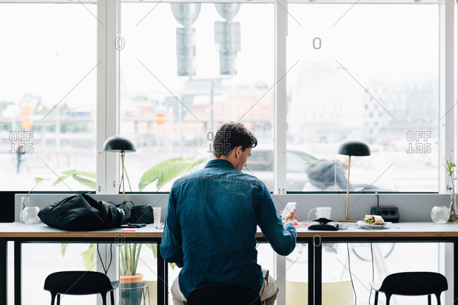 Rear view of businessman using smart phone while working at desk in office