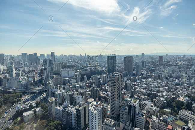 Tokyo, Japan - October 23, 2019: Aerial view over building in downtown Tokyo