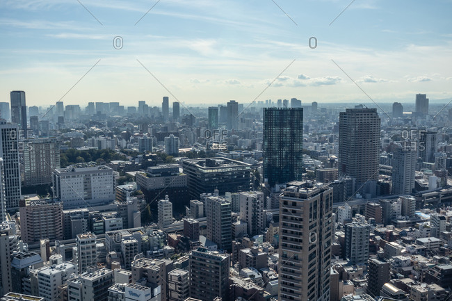 Tokyo, Japan - October 23, 2019: Aerial view over skyscrapers in downtown Tokyo