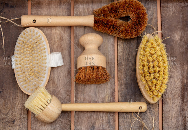 Eco-friendly wooden brushes. Above view