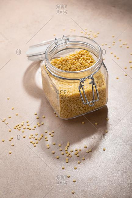 Israeli couscous in a glass jar