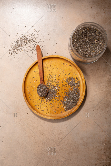 Overhead view of Chia seeds on light surface