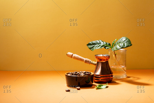 Coffee beans and Turkish coffee pot