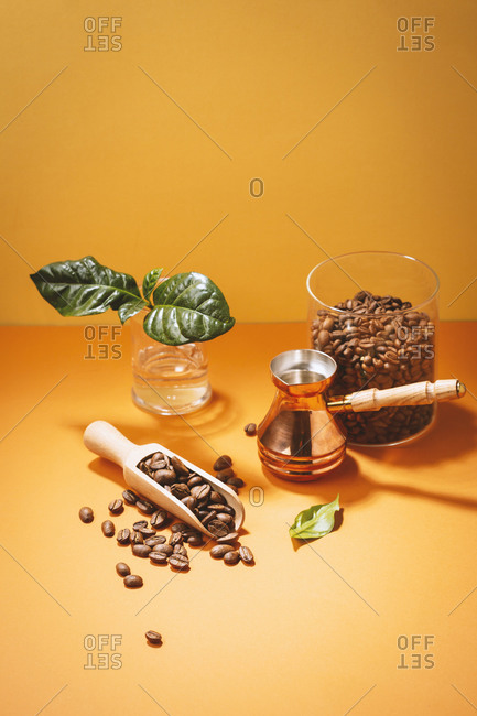 Coffee beans and coffee leaf