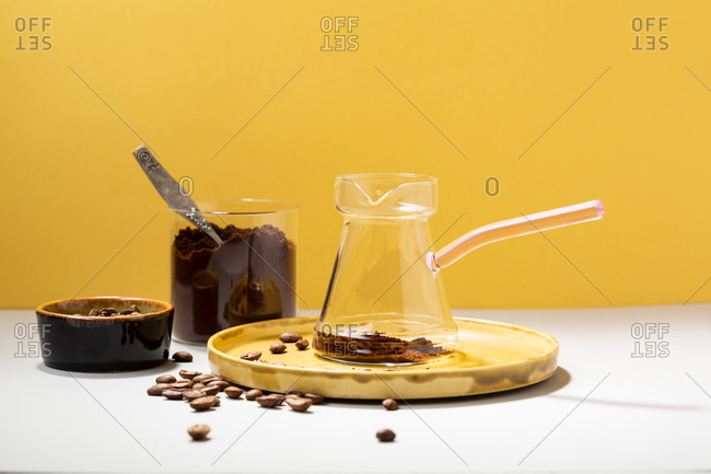 Glass coffee pot and coffee beans