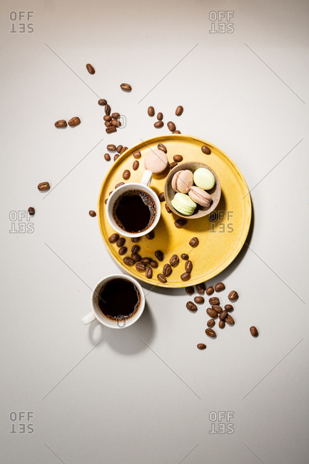 Overhead view of two cups coffee