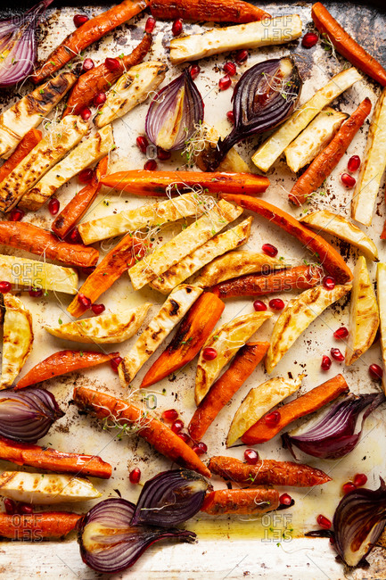 Overhead view of roasted vegetables